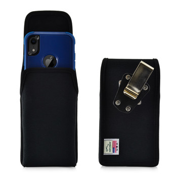 iPhone 11 (2019) & XR (2018) Fits with OTTERBOX COMMUTER, Vertical Holster Black Nylon Pouch with Heavy Duty Rotating Belt Clip, Made in USA