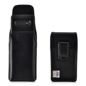 Galaxy S10+ Leather Vertical Holster Case Black Belt Clip