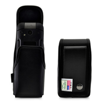 Sonim XP3 C1D2 IS Holster Pouch, Vertical Black Leather with Belt Loop & Magnetic Closure