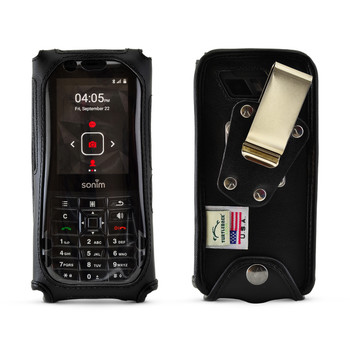 Sonim XP5s Fitted Leather Phone Case, Plastic Cover Metal Belt Clip