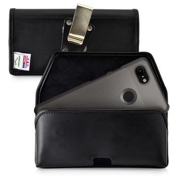 Google Pixel 3 (2019) Belt Holster Black Leather Pouch with Heavy Duty Rotating Belt Clip, Horizontal