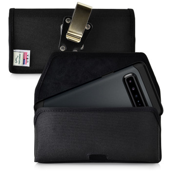 Samsung Galaxy S10 5G (2019) Belt Holster Black Nylon Pouch with Heavy Duty Rotating Belt Clip, Horizontal