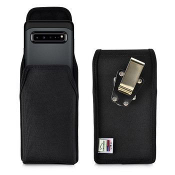 Samsung Galaxy S10 5G (2019) Vertical Holster Black Nylon Pouch with Heavy Duty Rotating Belt Clip