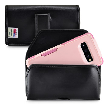 Galaxy S10+ Plus Fits with OTTERBOX COMMUTER Black Leather Belt Case Pouch Executive Belt Clip Horizontal