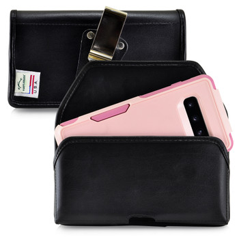 Galaxy S10+ Plus Fits with OTTERBOX COMMUTER Black Leather Holster Pouch Rotating Belt Clip Horizontal