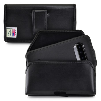 Galaxy S10 Fits with OTTERBOX DEFENDER Black Leather Belt Case Pouch Executive Belt Clip Horizontal