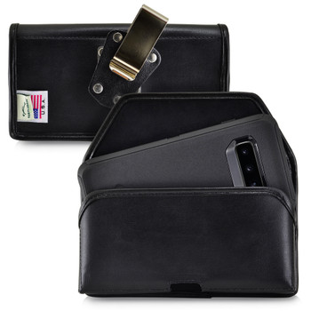Galaxy S10 Fits with OTTERBOX DEFENDER Black Leather Holster Pouch Rotating Belt Clip Horizontal