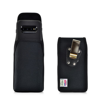 Galaxy S10 Fits with OTTERBOX DEFENDER Vertical Holster Black Nylon Pouch Rotating Belt Clip