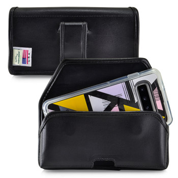 Galaxy S10 Fits with OTTERBOX SYMMETRY Black Leather Belt Case Pouch Executive Belt Clip Horizontal