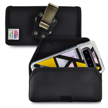 Galaxy S10 Fits with OTTERBOX SYMMETRY Black Nylon Holster Pouch Rotating Belt Clip Horizontal