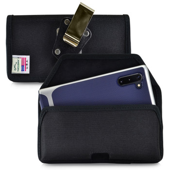 Samsung Galaxy Note 10 (2019) Belt Holster Black Nylon Pouch with Heavy Duty Rotating Belt Clip, Horizontal