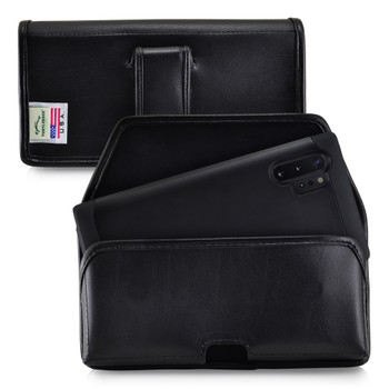 Samsung Galaxy Note 10+ Plus Belt Holster Case Black Leather Pouch with Executive Belt Clip, Horizontal