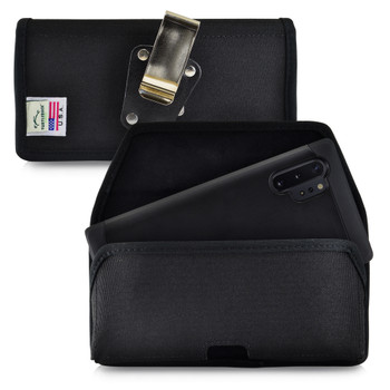 Samsung Galaxy Note 10+ Plus Belt Holster Black Nylon Pouch with Heavy Duty Rotating Belt Clip, Horizontal