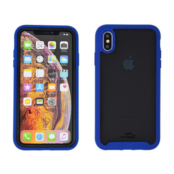 Tough Defense Drop Tested Case for Apple iPhone XS Max 6.5 Inch, Military Grade, Anti-Scratch Ultra Clear Back, Blue Sides
