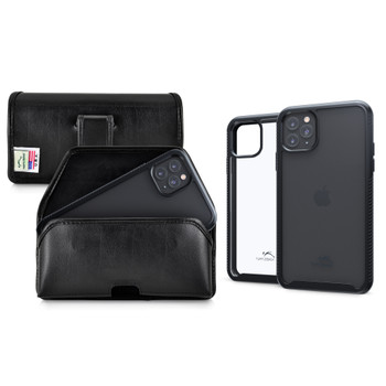 Tough Defense Combo for iPhone 11 Pro Max, Blk/Clr Drop Test Case + Horizontal Pouch, Leather Clip