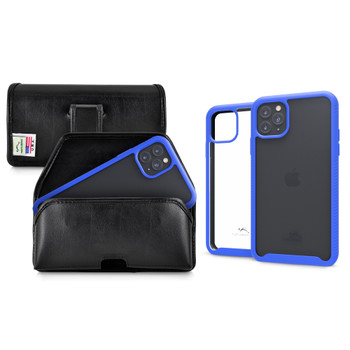 Tough Defense Combo for iPhone 11 Pro Max, Blu/Clr Drop Test Case + Horizontal Pouch, Leather Clip