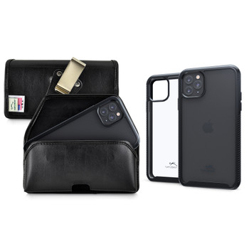 Tough Defense Combo for iPhone 11 Pro Max, Blk/Clr Drop Test Case + Horizontal Pouch, Metal Clip