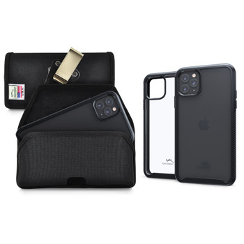 Tough Defense Combo for iPhone 11 Pro Max, Blk/Clr Drop Test Case + Hoz Nylon Pouch, Metal Clip