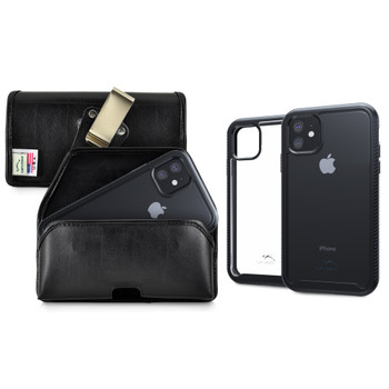 Tough Defense Combo for iPhone 11, Black/Clear Drop Test Case + Horizontal Pouch, Metal Clip