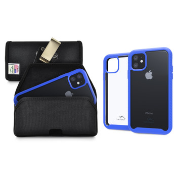 Tough Defense Combo for iPhone 11, Blue/Clear Drop Test Case + Hoz Nylon Pouch, Metal Clip