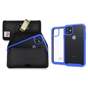 Tough Defense Combo for iPhone 11, Blue/Clear Drop Test Case + Hoz Nylon Pouch, Metal Clip