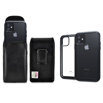 Tough Defense Combo for iPhone 11, Blak/Clear Drop Test Case + Vertical Pouch, Leather Clip