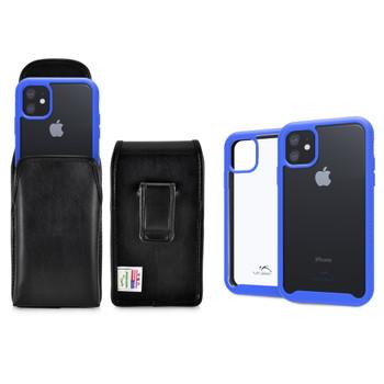 Tough Defense Combo for iPhone 11, Blue/Clear Drop Test Case + Vertical Pouch, Leather Clip