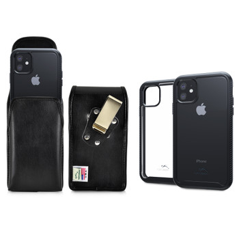 Tough Defense Combo for iPhone 11, Black/Clear Drop Test Case + Vertical Pouch, Metal Clip