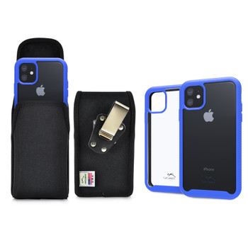 Tough Defense Combo for iPhone 11, Blue/Clear Drop Test Case + Ver Nylon Pouch, Metal Clip