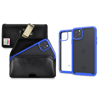 Tough Defense Combo for iPhone 11 Pro, Blu/Clr Drop Test Case + Horizontal Pouch, Metal Clip
