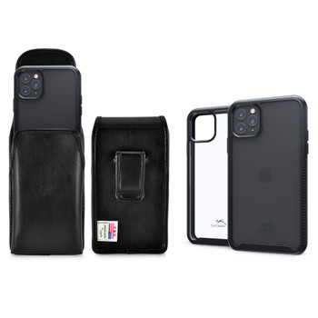 Tough Defense Combo for iPhone 11 Pro, Blk/Clr Drop Test Case + Vertical Pouch, Leather Clip