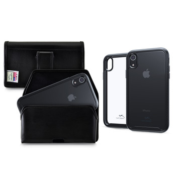 Tough Defense Combo for iPhone XR, Black/Clear Drop Test Case + Horizontal Pouch, Leather Clip