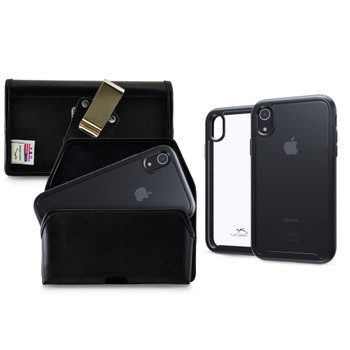 Tough Defense Combo for iPhone XR, Black/Clear Drop Test Case + Horizontal Pouch, Metal Clip