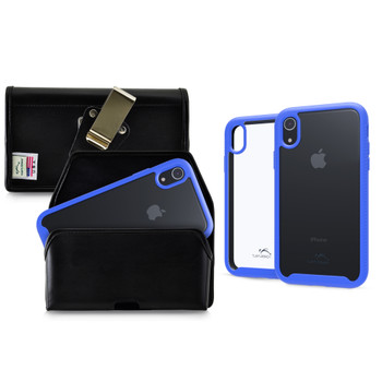 Tough Defense Combo for iPhone XR, Blue/Clear Drop Test Case + Horizontal Pouch, Metal Clip