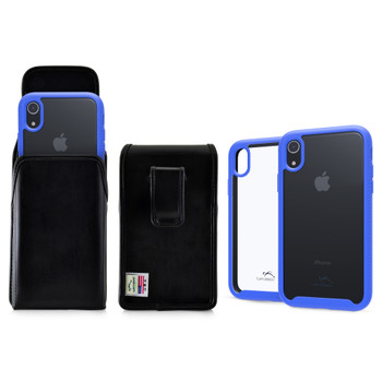 Tough Defense Combo for iPhone XR, Blue/Clear Drop Test Case + Vertical Pouch, Leather Clip