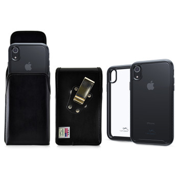 Tough Defense Combo for iPhone XR, Black/Clear Drop Test Case + Vertical Pouch, Metal Clip