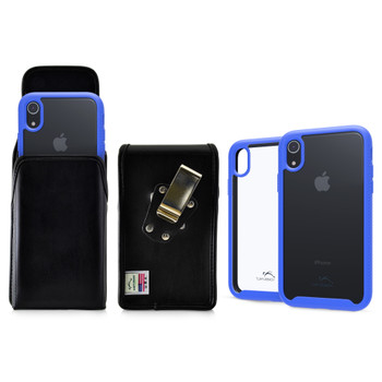 Tough Defense Combo for iPhone XR, Blue/Clear Drop Test Case + Vertical Pouch, Metal Clip