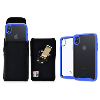 Tough Defense Combo for iPhone XR, Blue/Clear Drop Test Case + Ver Nylon Pouch, Metal Clip