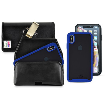 Tough Defense Combo for iPhone XS Max, Blu/Clr Drop Test Case + Horizontal Pouch, Metal Clip