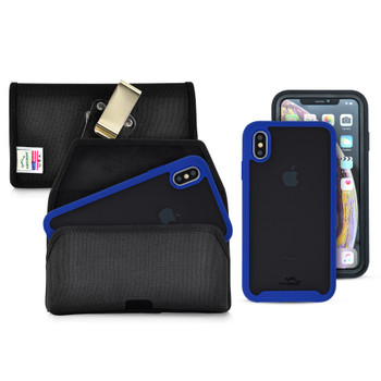 Tough Defense Combo for iPhone XS Max, Blu/Clr Drop Test Case + Hoz Nylon Pouch, Metal Clip