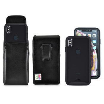 Tough Defense Combo for iPhone XS Max, Blk/Clr Drop Test Case + Vertical Pouch, Leather Clip