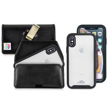 Tough Defense Combo for iPhone X & XS, Blk/Clr Drop Test Case + Horizontal Pouch, Metal Clip