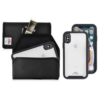 Tough Defense Combo for iPhone X & XS, Blk/Clr Drop Test Case + Hoz Nylon Pouch, Metal Clip
