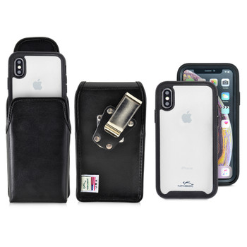 Tough Defense Combo for iPhone X & XS, Blk/Clr Drop Test Case + Vertical Pouch, Metal Clip