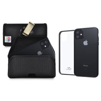 Hybrid Case Combo for iPhone 11 6.1, Clear/Black Case + Horizontal Nylon Pouch, Metal Clip