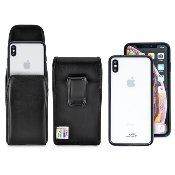 Hybrid Case Combo for iPhone XS Max, Clear/Black Case + Vertical Leather Pouch and Clip