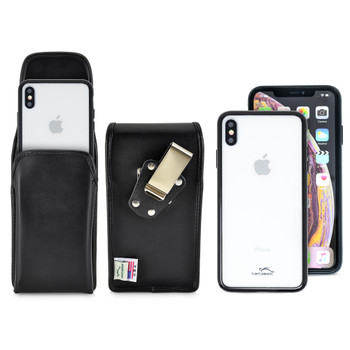 Hybrid Case Combo for iPhone XS Max, Clear/Black Case + Vertical Leather Pouch, Metal Clip