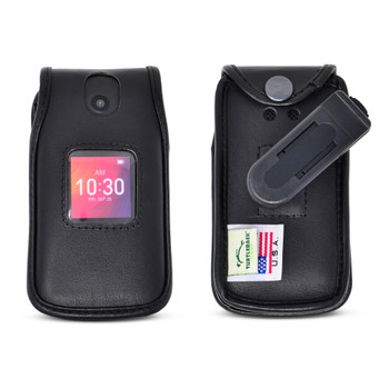Alcatel GO FLIP 3 4052W & SMARTFLIP 4052R Black LEATHER Flip Phone Fitted Case Removable Belt Clip