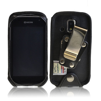 Kyocera Hydro XTRM c6721 Black Leather Case with Rotating Metal Clip
