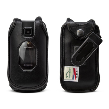 Kyocera DuraXV Extreme Flip Phone FITTED CASE Black Leather Plastic Ratcheting Removable Belt Clip